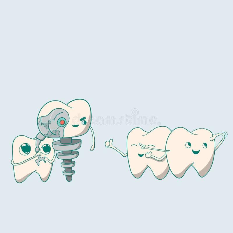Robô bonito e dentes do implante dental imagem de stock