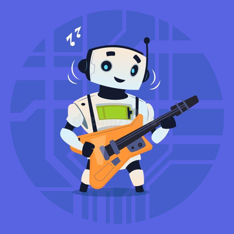 Robô bonito que joga o conceito moderno da tecnologia de inteligência artificial da guitarra ilustração royalty free