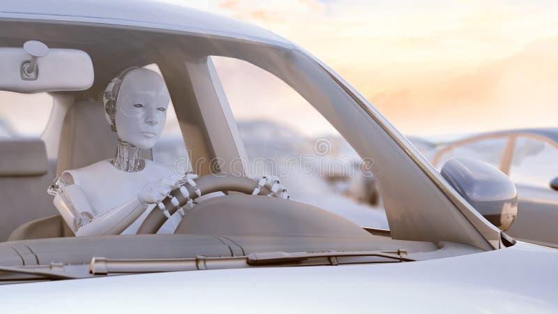 Robô colado em um engarrafamento ilustração royalty free