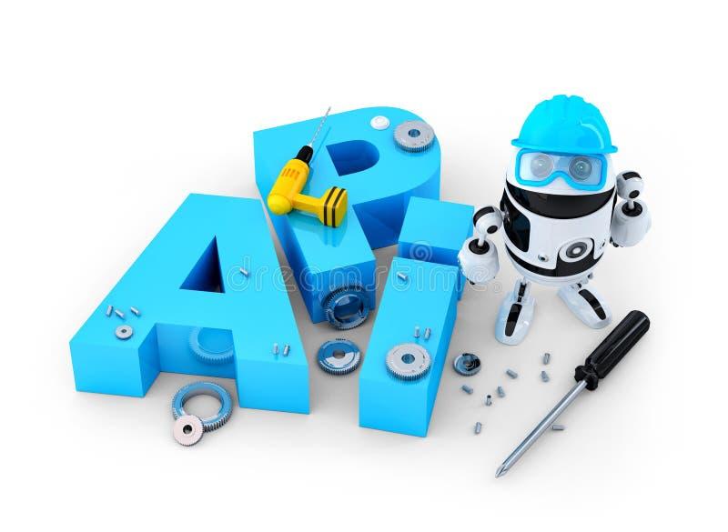 Robô com ferramentas e sinal da relação de programação de aplicativo. Conceito da tecnologia