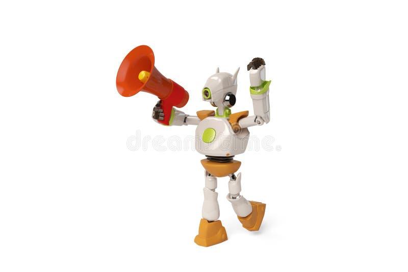 Robô com megafone, ilustração 3D ilustração royalty free