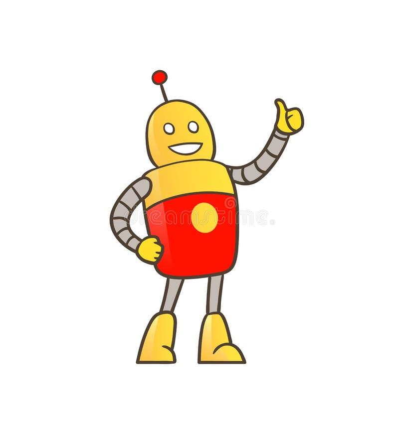 Robô com polegares acima ilustração royalty free
