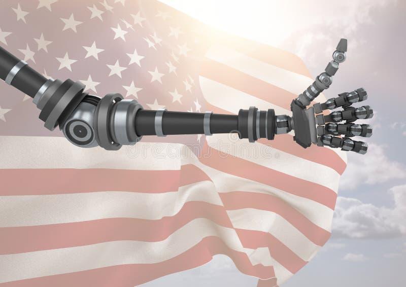 Robô com polegares acima contra a bandeira americana ilustração royalty free