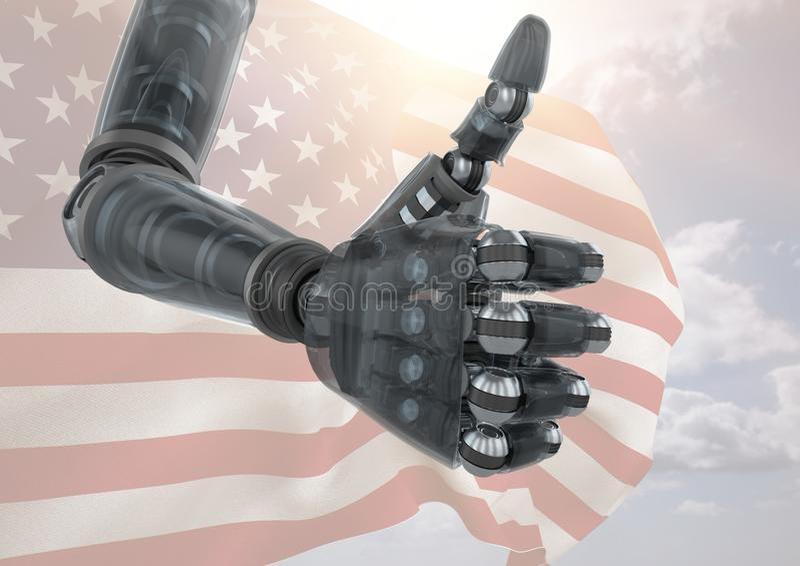 Robô com polegares acima contra a bandeira americana ilustração do vetor