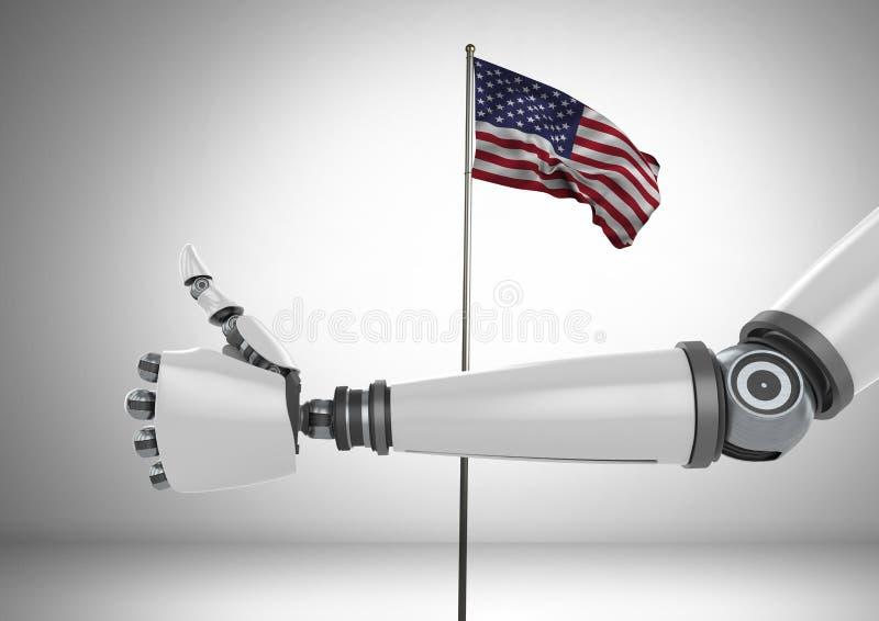 Robô com polegares acima contra a bandeira americana ilustração stock