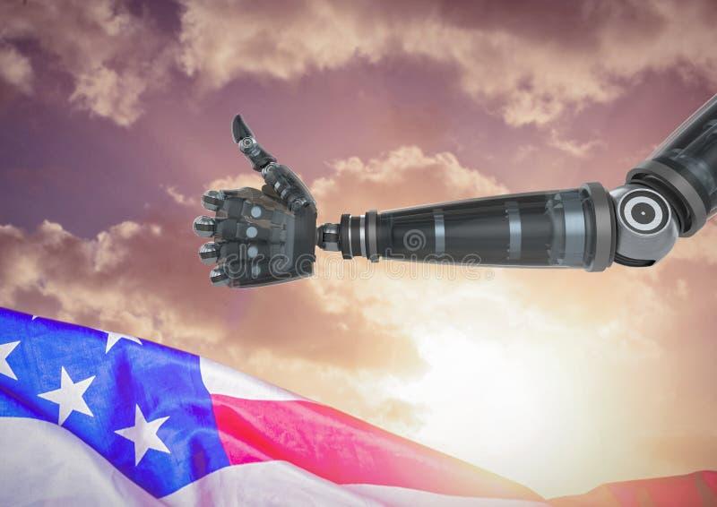 Robô com polegares acima contra o por do sol e a bandeira americana ilustração royalty free