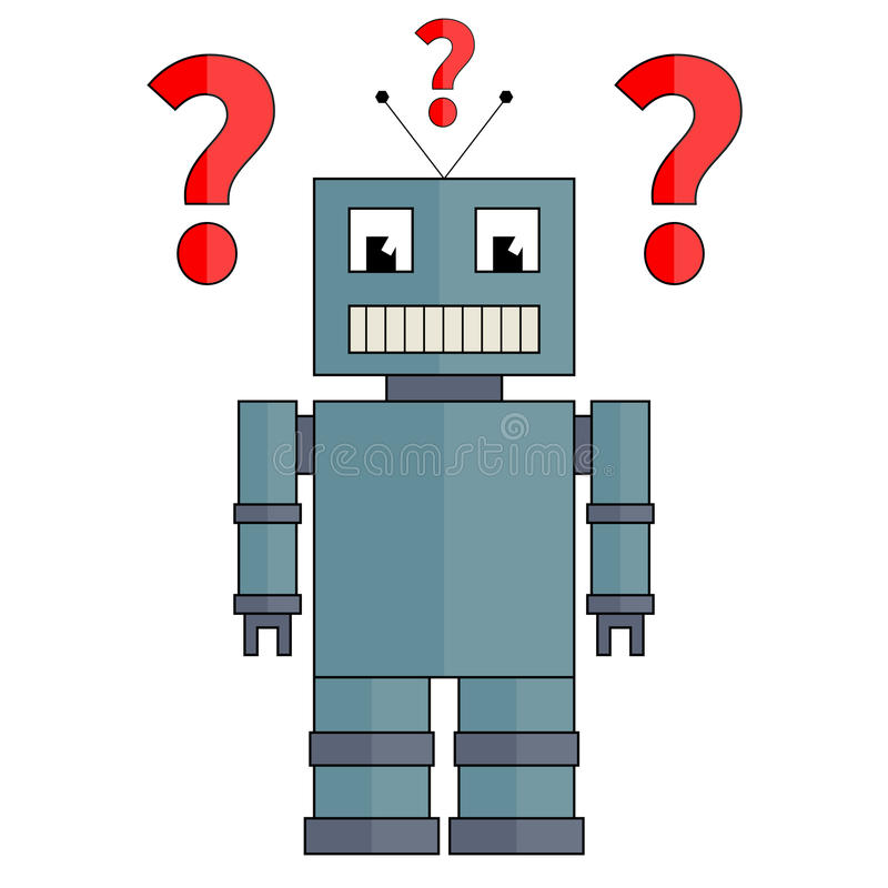 Robô com pontos de interrogação fotos de stock royalty free