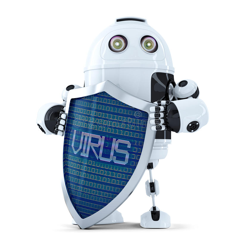 Robô com protetor Conceito da proteção do vírus Isolado Contem o trajeto de grampeamento ilustração royalty free