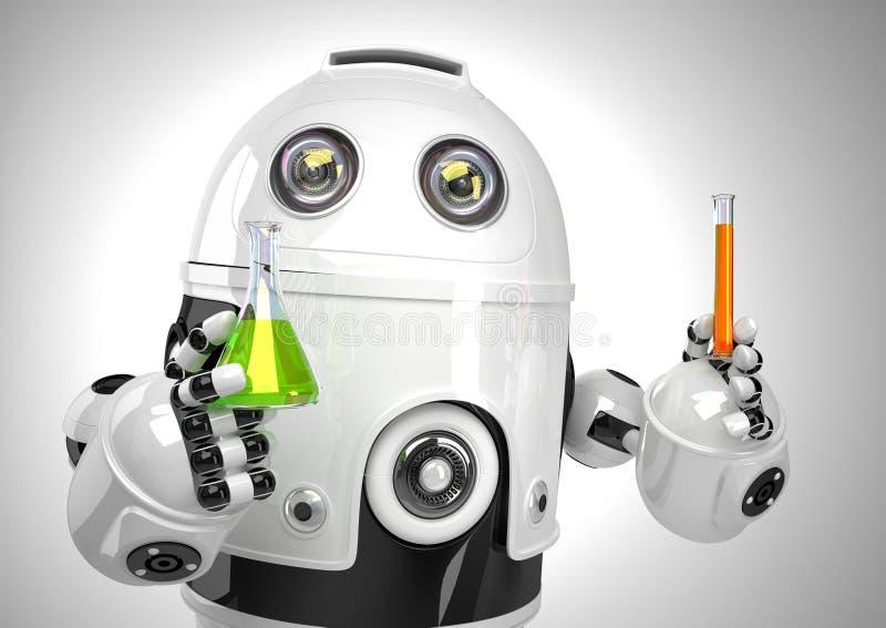 Robô com tubo de ensaio e garrafa Conceito da análise química Contem o trajeto de grampeamento ilustração stock