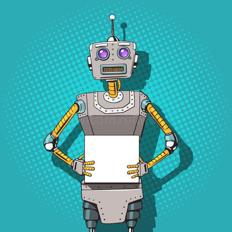 Robô com vetor do estilo do pop art dos anúncios ilustração royalty free