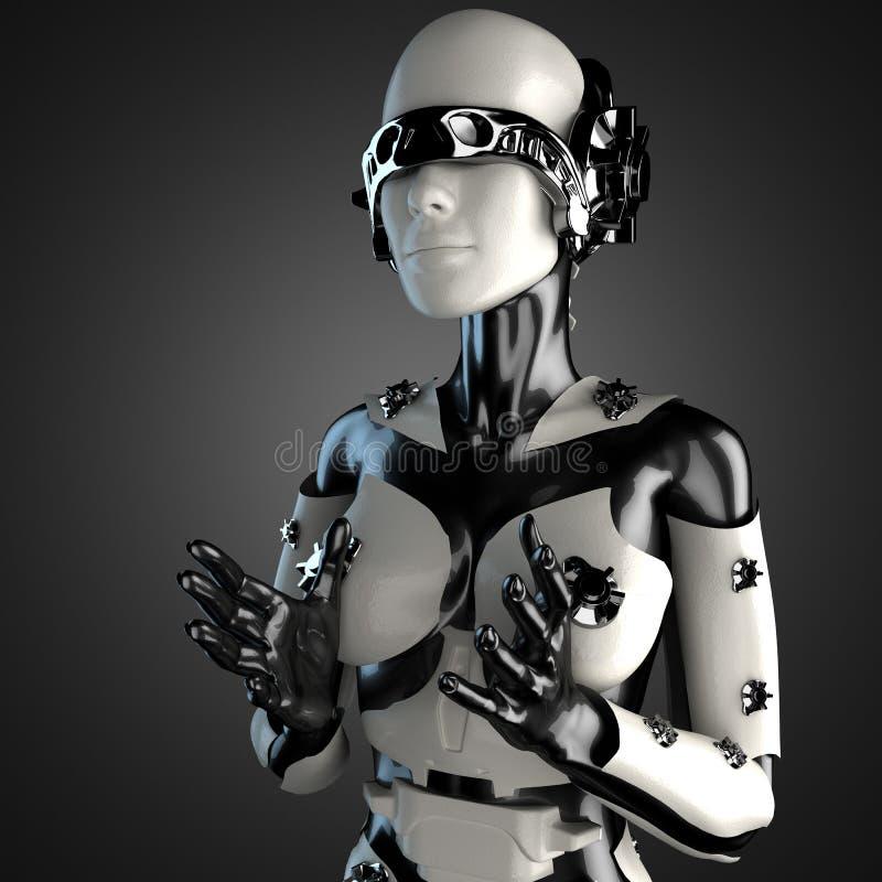 Robô da mulher do aço e do plástico branco ilustração do vetor