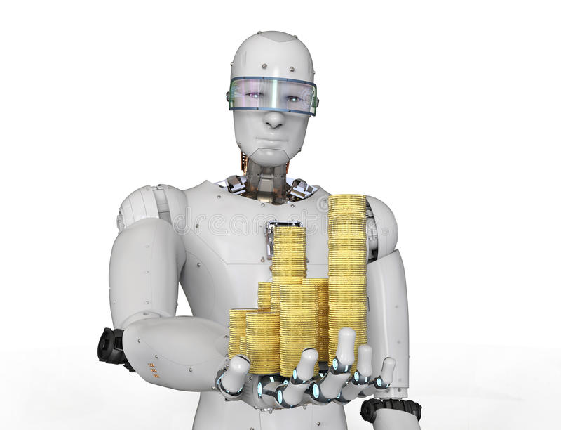 Robô de Android que guarda moedas de ouro fotografia de stock royalty free