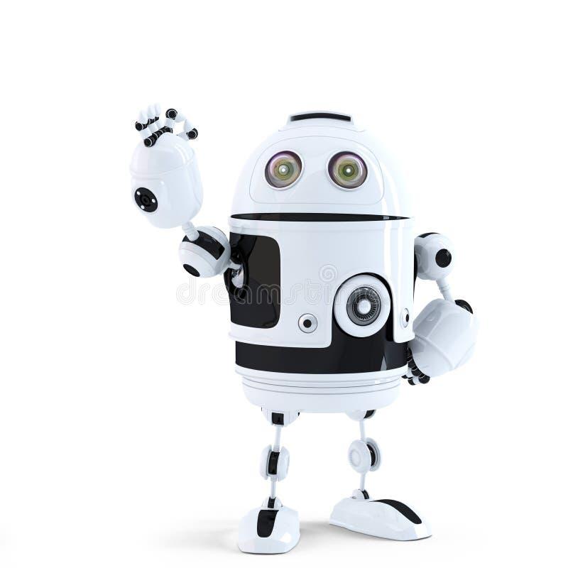 Robô de Android que mostra o sinal aprovado. Conceito da tecnologia ilustração royalty free