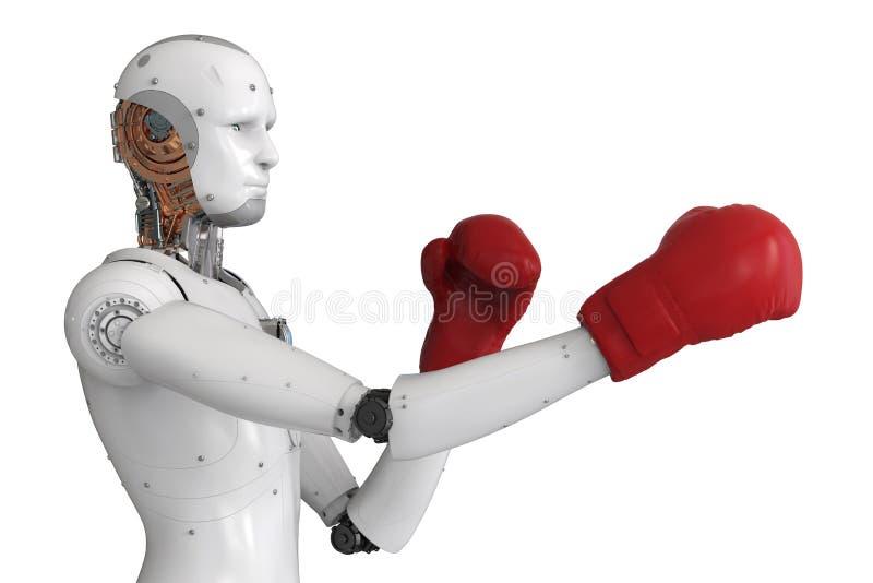 Robô de Android que veste luvas de encaixotamento vermelhas ilustração do vetor