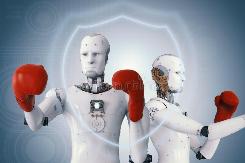 Robô de Android que veste luvas de encaixotamento vermelhas fotografia de stock
