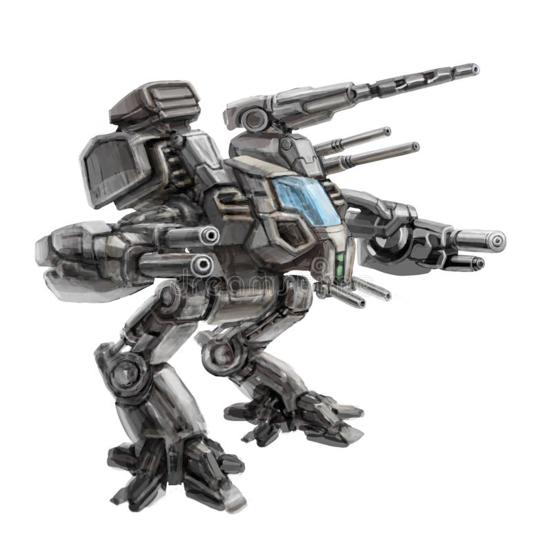 robô de passeio Dois-equipado com pernas do combate Ilustração da ficção científica ilustração do vetor