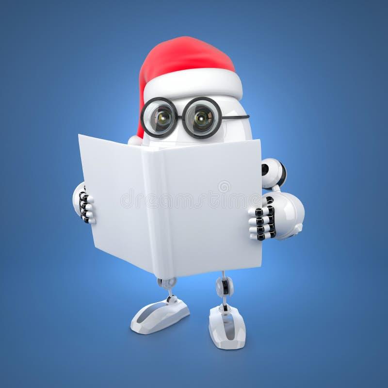 Robô de Santa que lê um livro ilustração royalty free