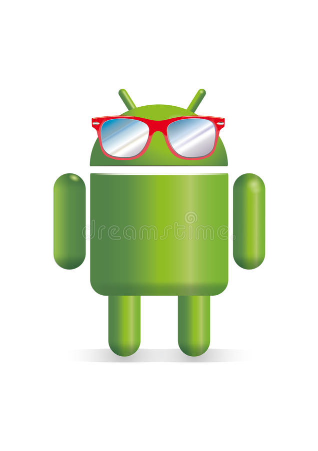 Robô do androide com óculos de sol ilustração stock