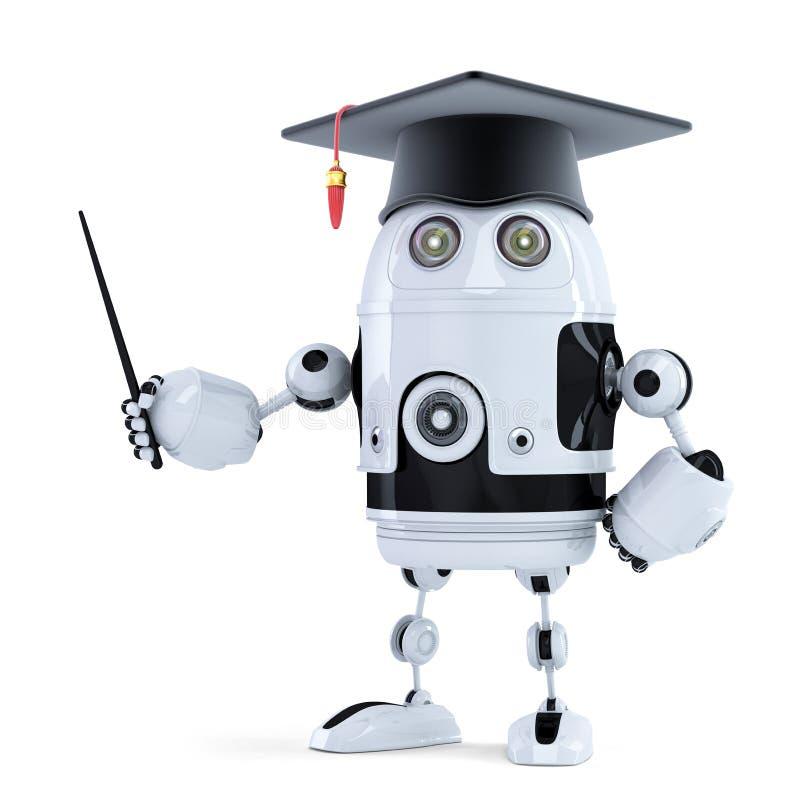 Robô do estudante com ponteiro ilustração stock