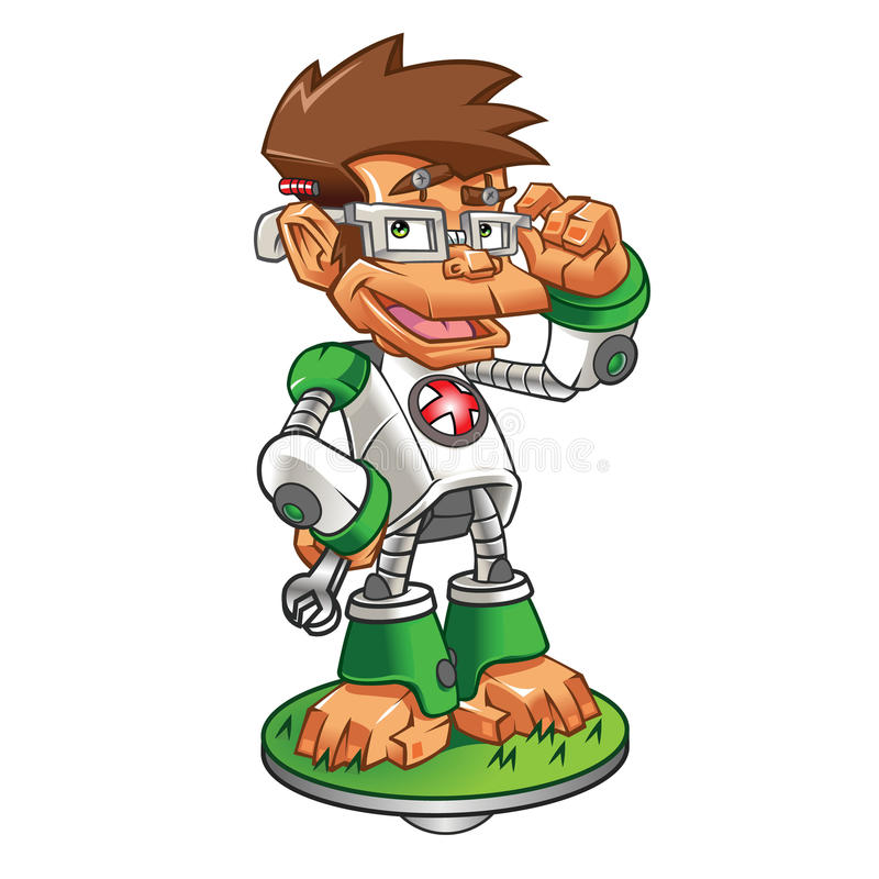Robô do lerdo do macaco dos desenhos animados ilustração stock
