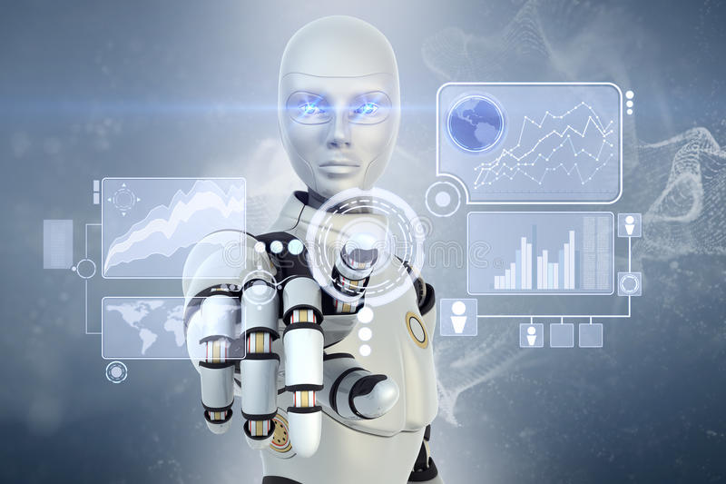 Robô e écran sensível ilustração stock