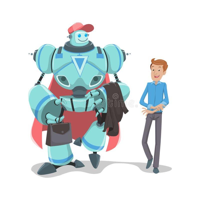 Robô e homem de negócio ilustração stock