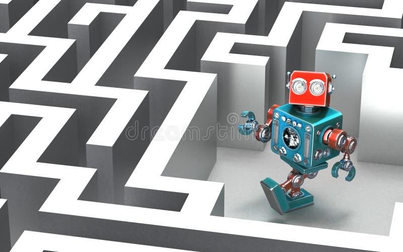 Robô em um labirinto Conceito da tecnologia ilustração stock