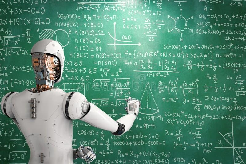 Robô que aprende ou que resolve problemas ilustração do vetor