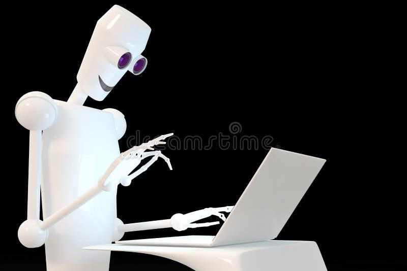 Robô que datilografa no portátil foto de stock