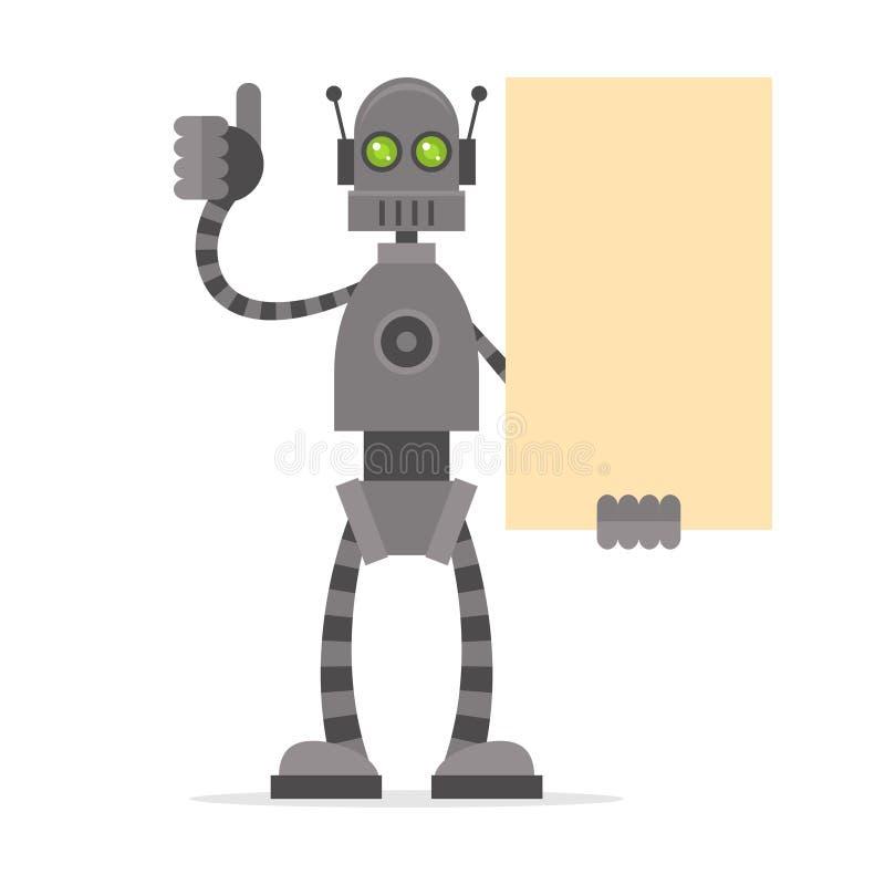 Robô que guarda o cartaz vazio que mostra os polegares acima ilustração royalty free