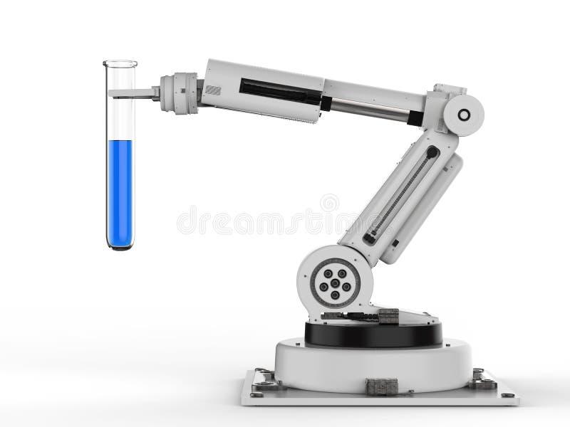 Robô que guarda o tubo de ensaio com líquido azul ilustração stock