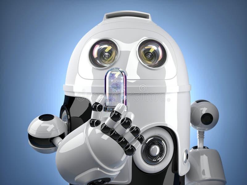Robô que guarda o tubo de ensaio com vírus Conceito da tecnologia Contem o trajeto de grampeamento ilustração do vetor