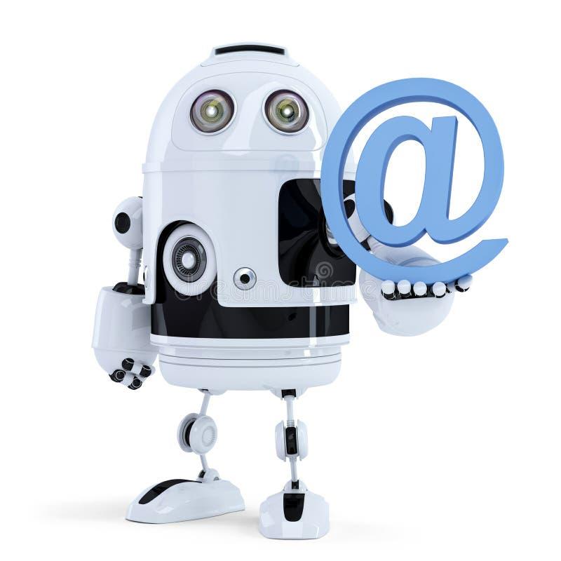 Robô que guarda um símbolo do email. Isolado. Contenha o trajeto de grampeamento ilustração do vetor