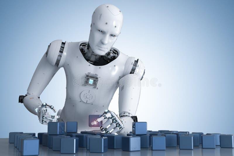 Robô que joga o enigma ilustração stock