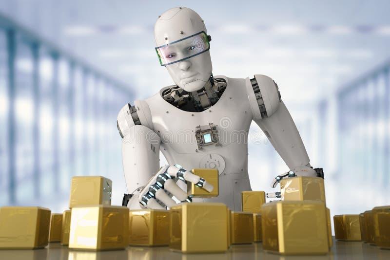 Robô que joga o enigma ilustração do vetor