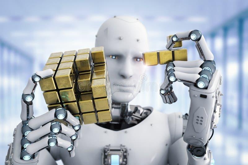 Robô que joga o enigma ilustração royalty free