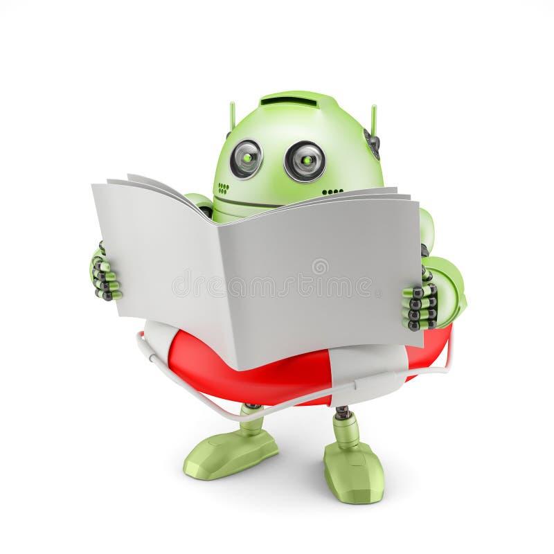 Robô que lê o manual. ilustração royalty free