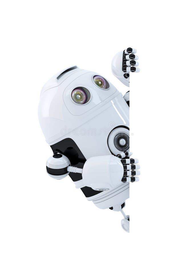 Robô que olha a bandeira vazia Isolado Contem o trajeto de grampeamento ilustração stock