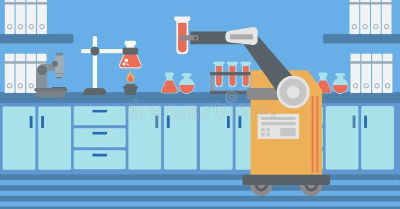Robô que trabalha em um laboratório com um tubo de ensaio ilustração royalty free