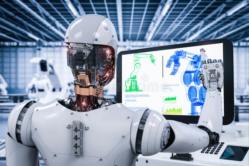 Robô que trabalha na fábrica imagem de stock