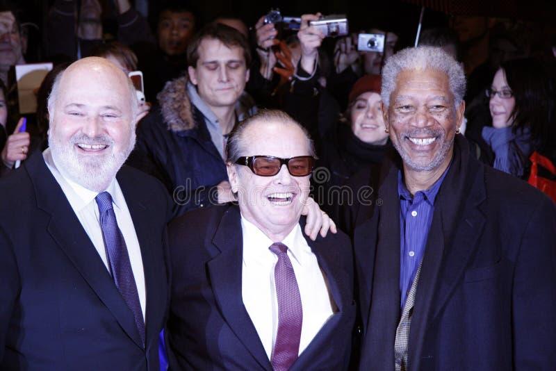 Rob Reiner, Jack Nicholson, Morgan Freeman lizenzfreie stockbilder