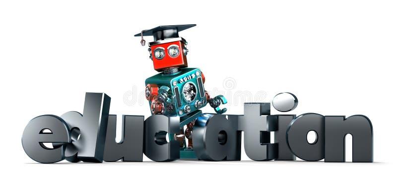 Robô retro com sinal da EDUCAÇÃO Isolado Contem o trajeto de grampeamento ilustração royalty free