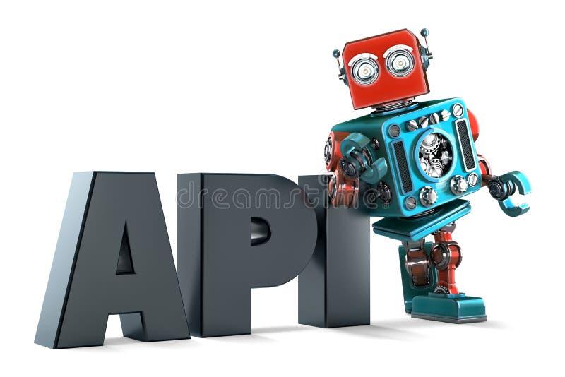 Robô retro com sinal da relação de programação de aplicativo Isolado Contem o trajeto de grampeamento ilustração stock
