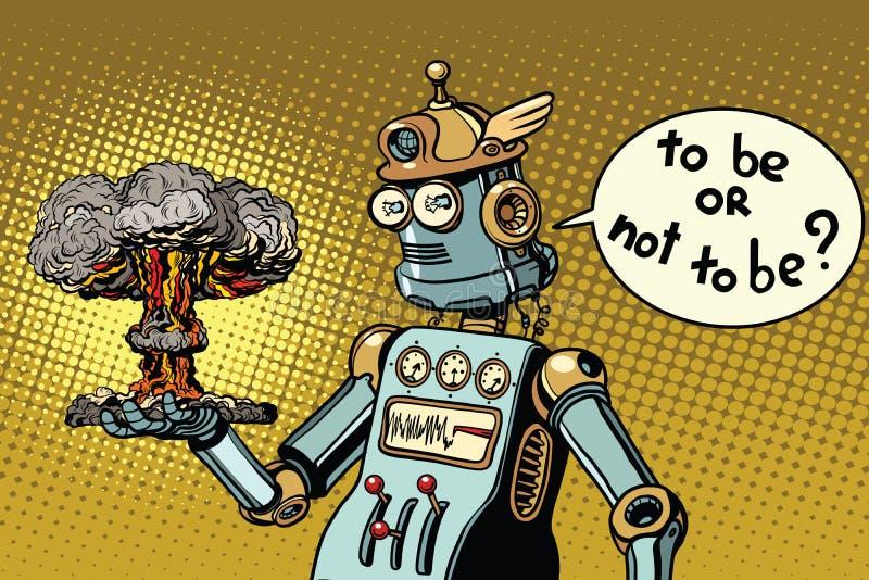 Robô retro e uma explosão nuclear, uma guerra e um conflito ilustração royalty free
