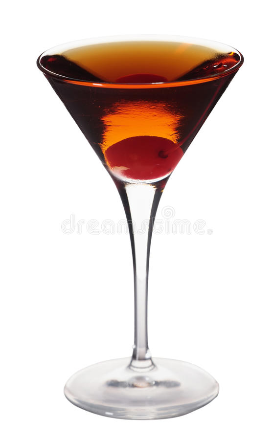 Rob Roy on white. Rob Roy cocktail isolated on white background in martini glass stock image