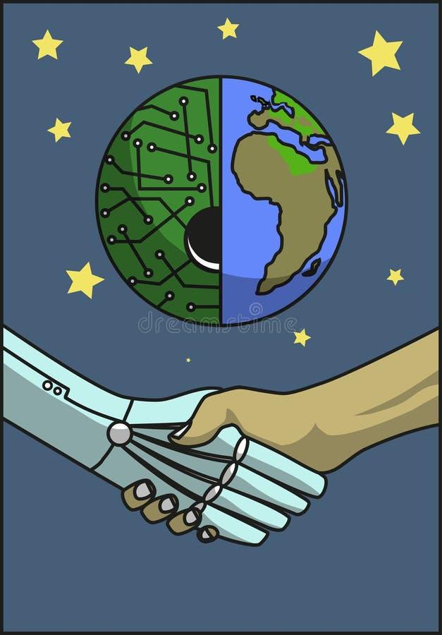 Robôs do aperto de mão ilustração do vetor