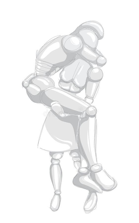 Robôs - mulher e homem ilustração royalty free