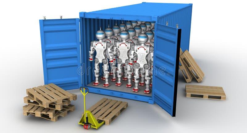 Robôs no recipiente de carga ilustração stock