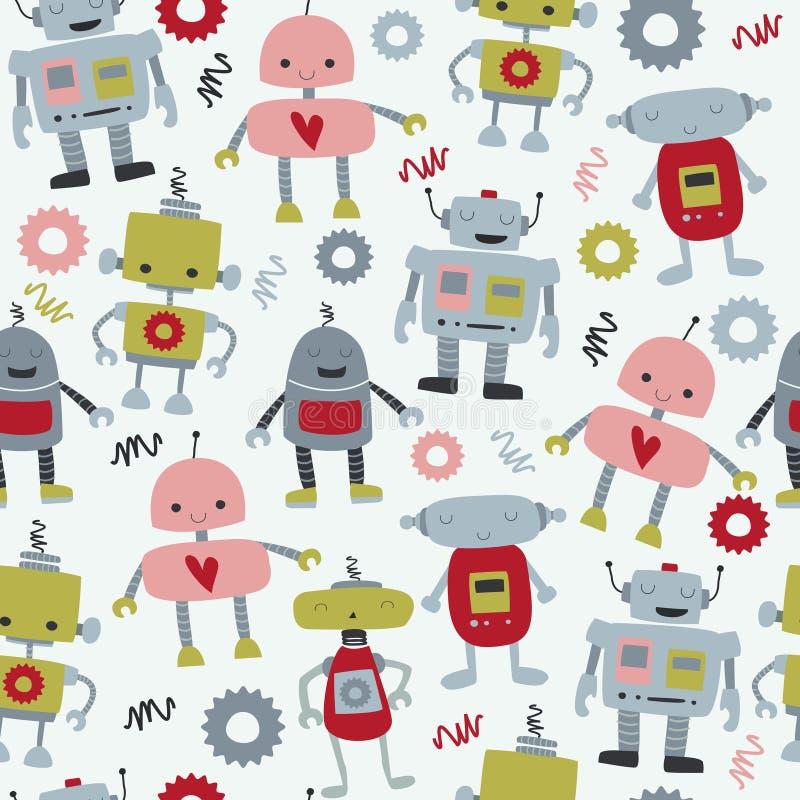 Robôs sem emenda ilustração royalty free