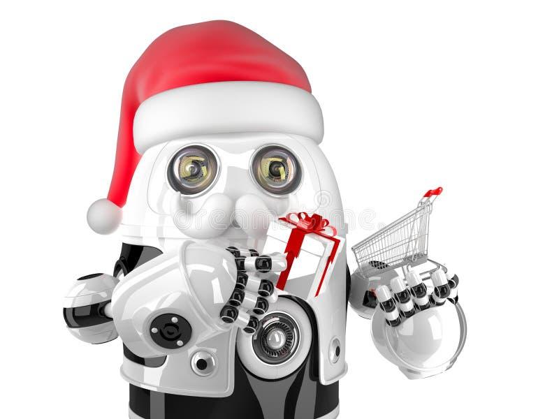 Robô Santa com carrinho de compras e caixa de presente Isolado Contem o trajeto de grampeamento ilustração stock